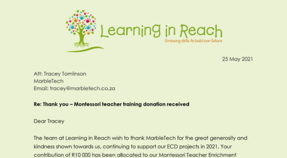 Learning in Reach: Thank you and update